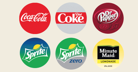 Coca Cola Products including: Coca-Cola, Diet Coke, Dr. Pepper, Sprite, Sprite Zero and Minute Maid Lemonade