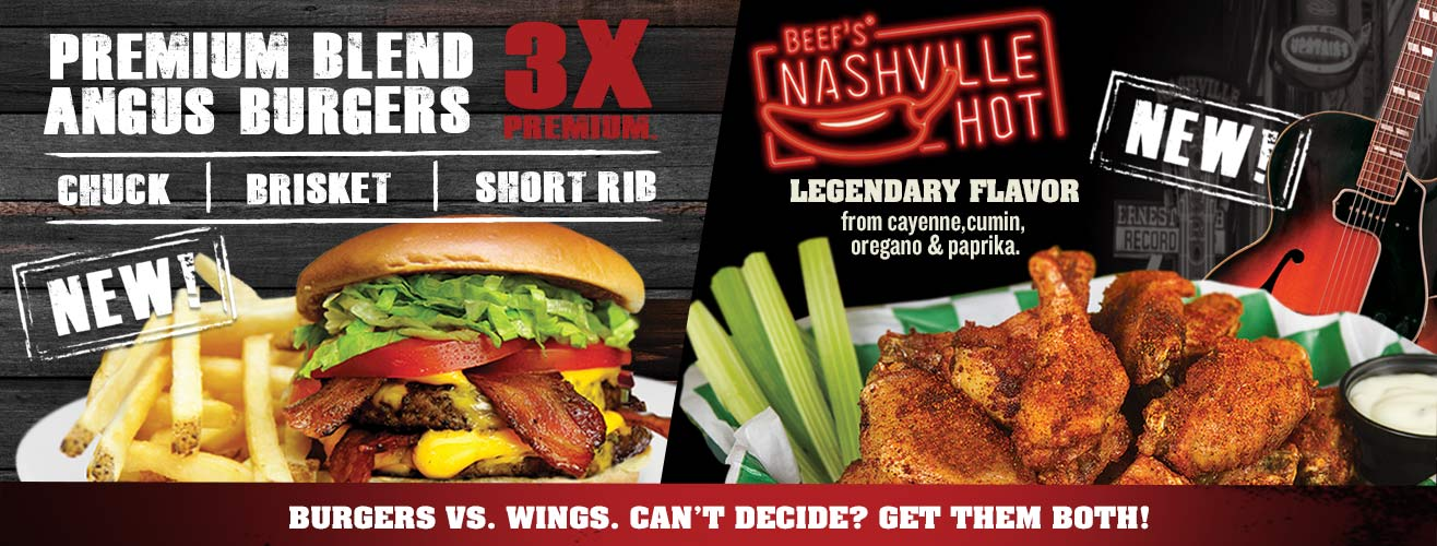 Burgers vs Wings - Can't decide? Get them both!