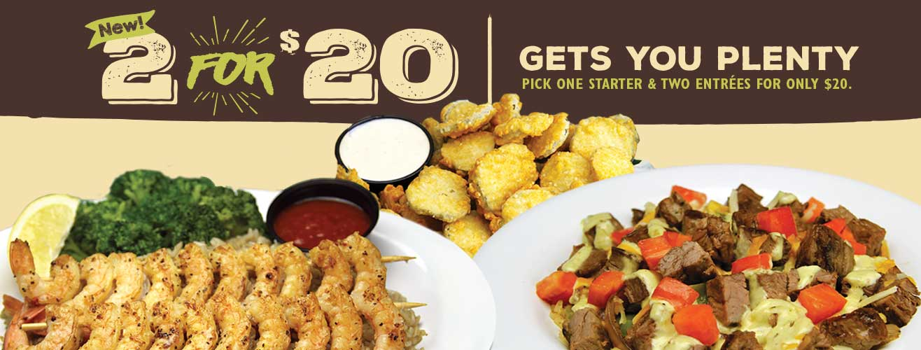 2 for $20 - Pick one starter & two entrees for only $20.
